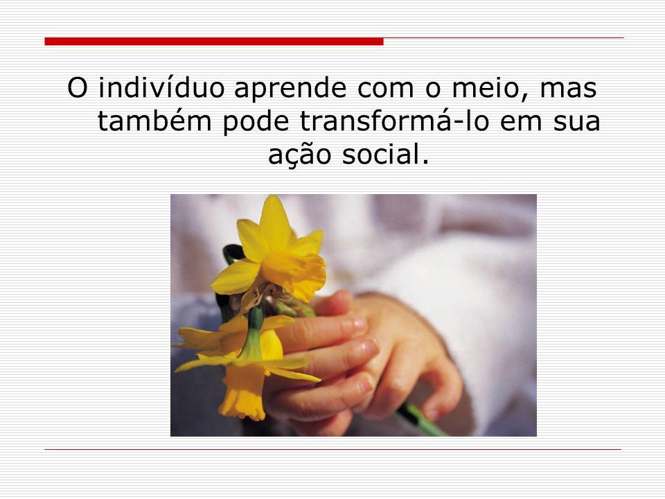 Cada indivíduo recebe influências de seu meio, forma-se de determinada maneira e age no meio social de acordo com a sua formação.