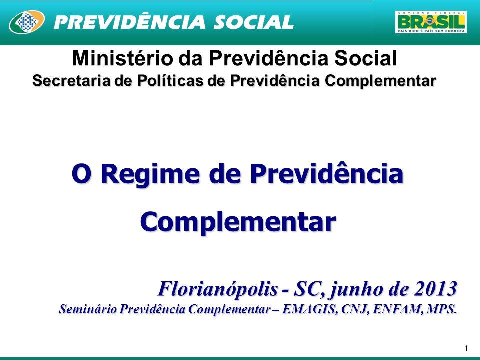 1 Ministério da Previdência Social Secretaria de Políticas de Previdência Complementar O Regime de Previdência Complementar Florianópolis - SC, junho de 2013 Seminário Previdência Complementar – EMAGIS, CNJ, ENFAM, MPS.