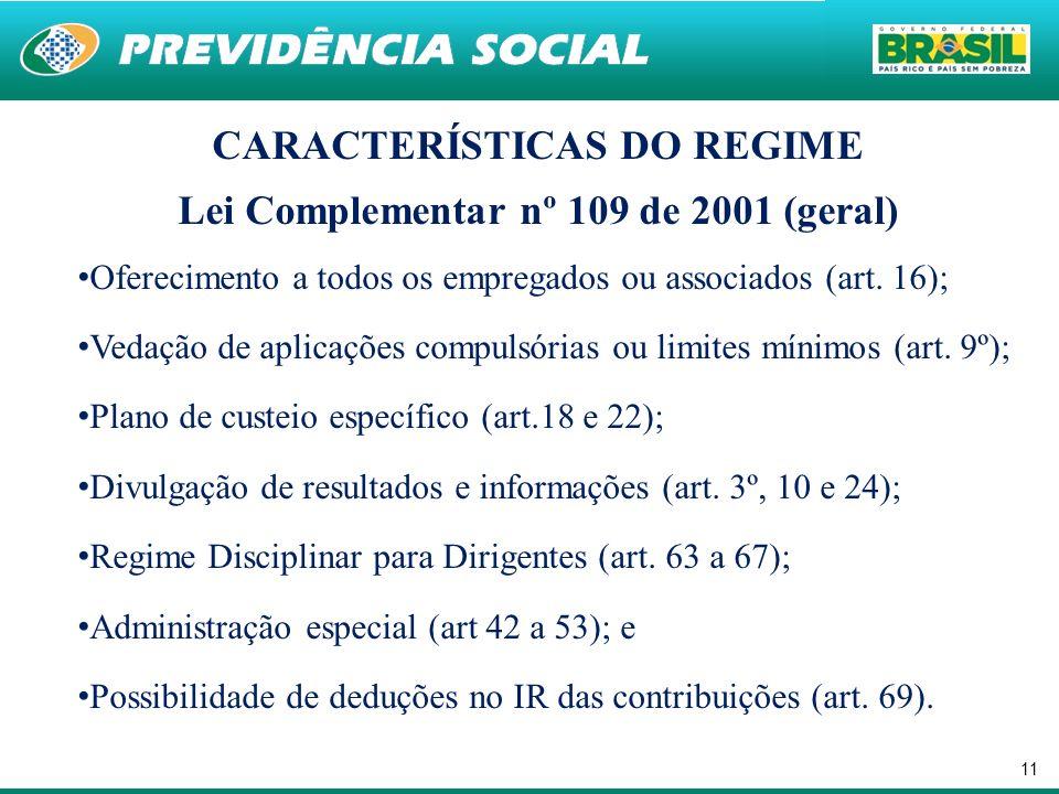 11 CARACTERÍSTICAS DO REGIME Lei Complementar nº 109 de 2001 (geral) Oferecimento a todos os empregados ou associados (art.
