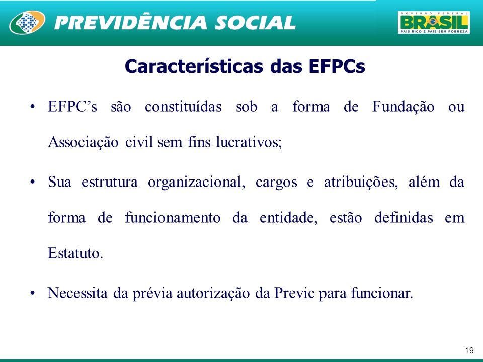 19 EFPCs são constituídas sob a forma de Fundação ou Associação civil sem fins lucrativos; Sua estrutura organizacional, cargos e atribuições, além da forma de funcionamento da entidade, estão definidas em Estatuto.