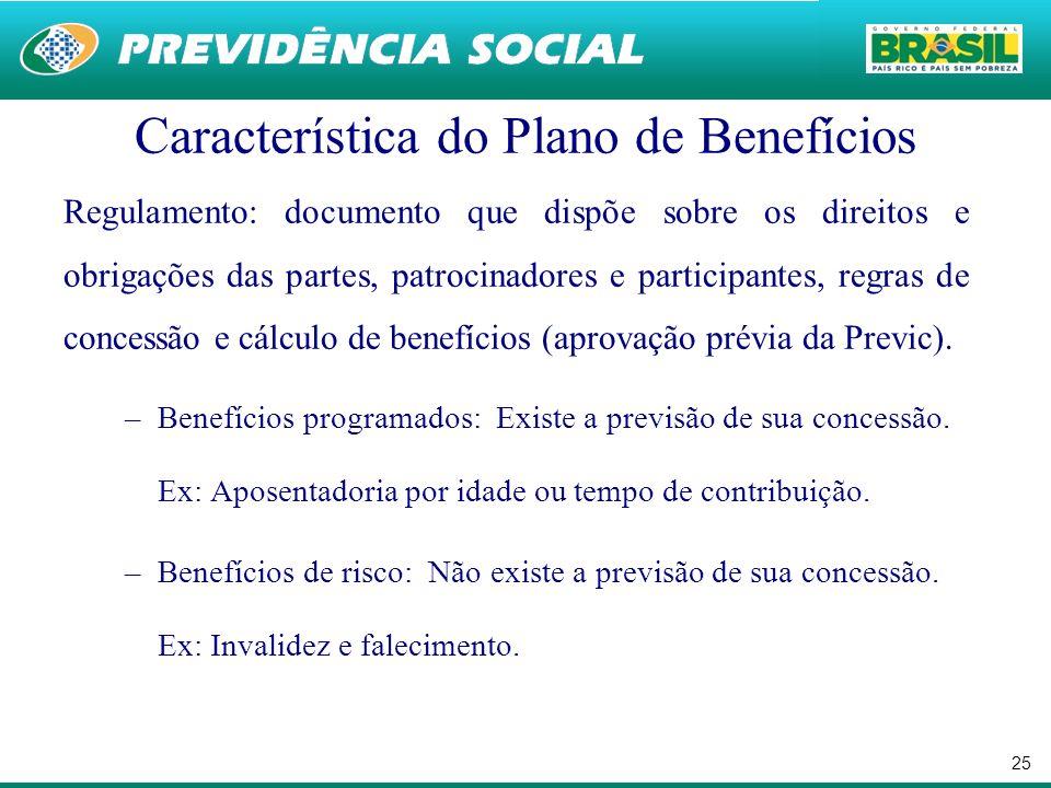 25 Característica do Plano de Benefícios Regulamento: documento que dispõe sobre os direitos e obrigações das partes, patrocinadores e participantes, regras de concessão e cálculo de benefícios (aprovação prévia da Previc).