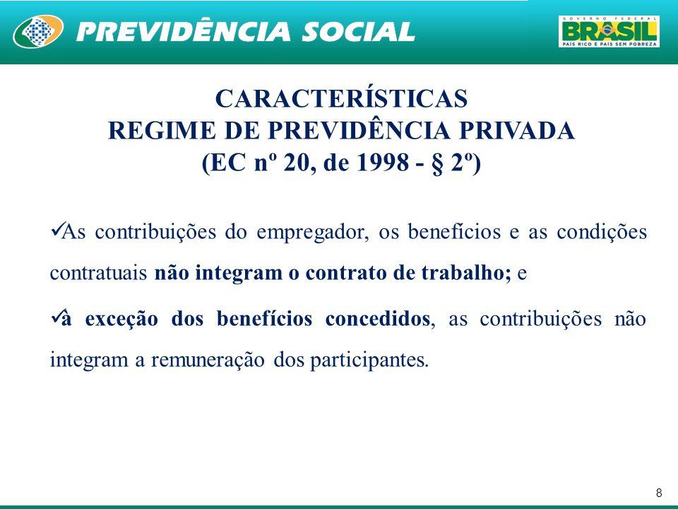 8 CARACTERÍSTICAS REGIME DE PREVIDÊNCIA PRIVADA (EC nº 20, de 1998 - § 2º) As contribuições do empregador, os benefícios e as condições contratuais não integram o contrato de trabalho; e à exceção dos benefícios concedidos, as contribuições não integram a remuneração dos participantes.