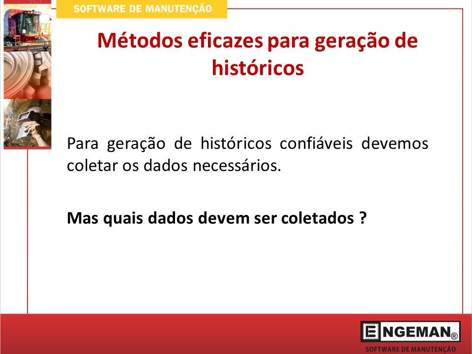 Métodos eficazes para geração de históricos Para geração de históricos confiáveis devemos coletar os dados necessários.