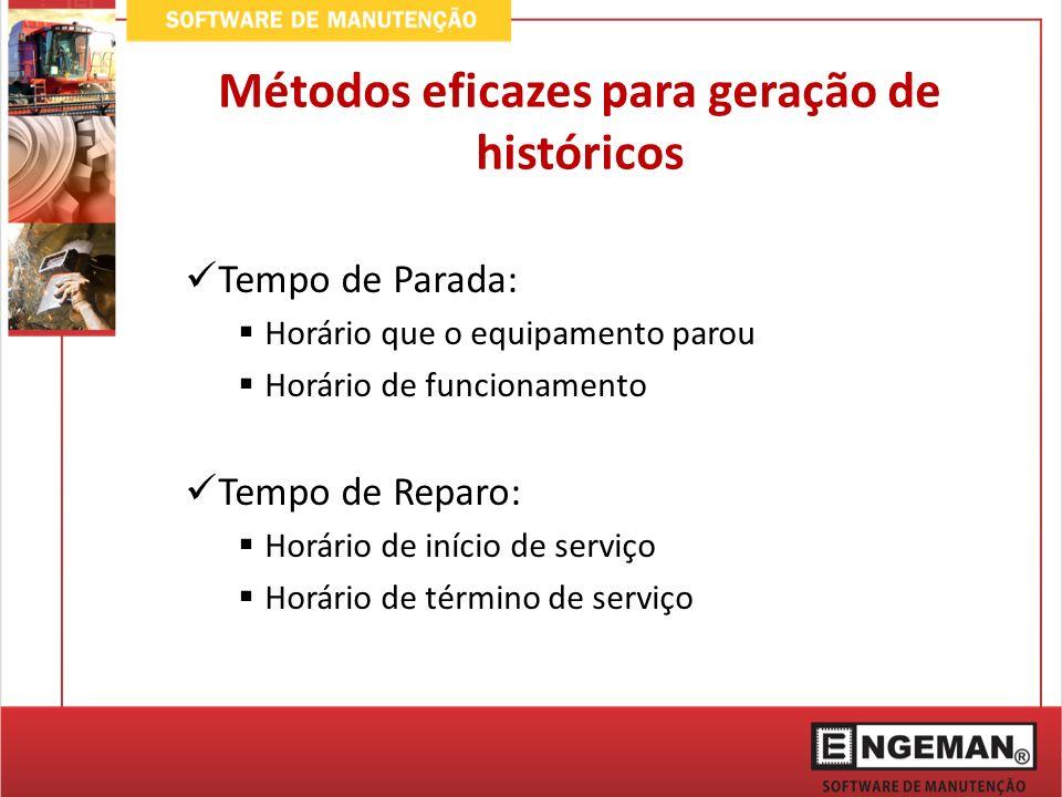 Métodos eficazes para geração de históricos Tempo de Parada: Horário que o equipamento parou Horário de funcionamento Tempo de Reparo: Horário de início de serviço Horário de término de serviço