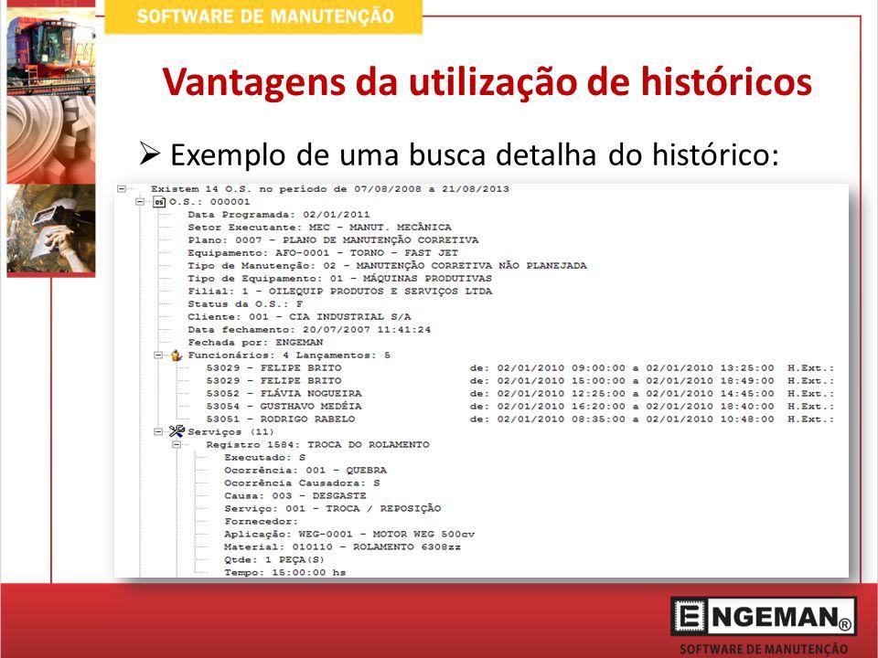 Exemplo de uma busca detalha do histórico: Vantagens da utilização de históricos