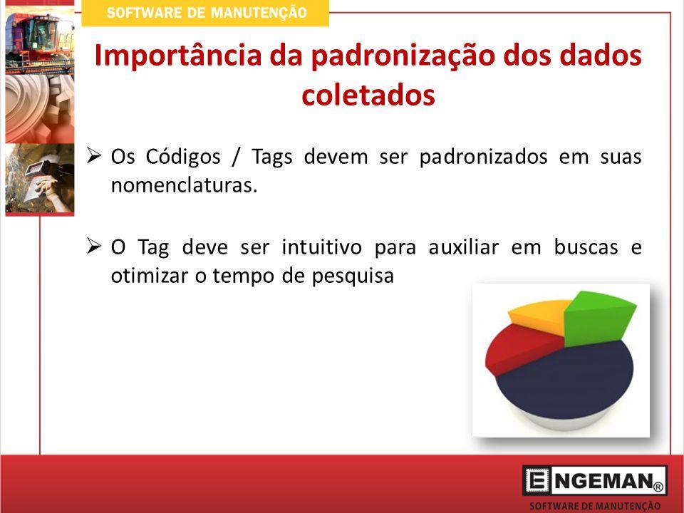 Errado: CÓDIGO DESCRIÇÃO AAA-001 Quebrou AAA-002 Quebrado Importância da padronização dos dados coletados