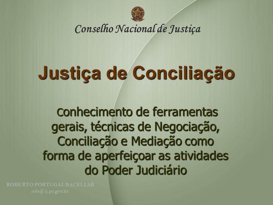 Justiça de Conciliação C onhecimento de ferramentas gerais, técnicas de Negociação, Conciliação e Mediação como forma de aperfeiçoar as atividades do