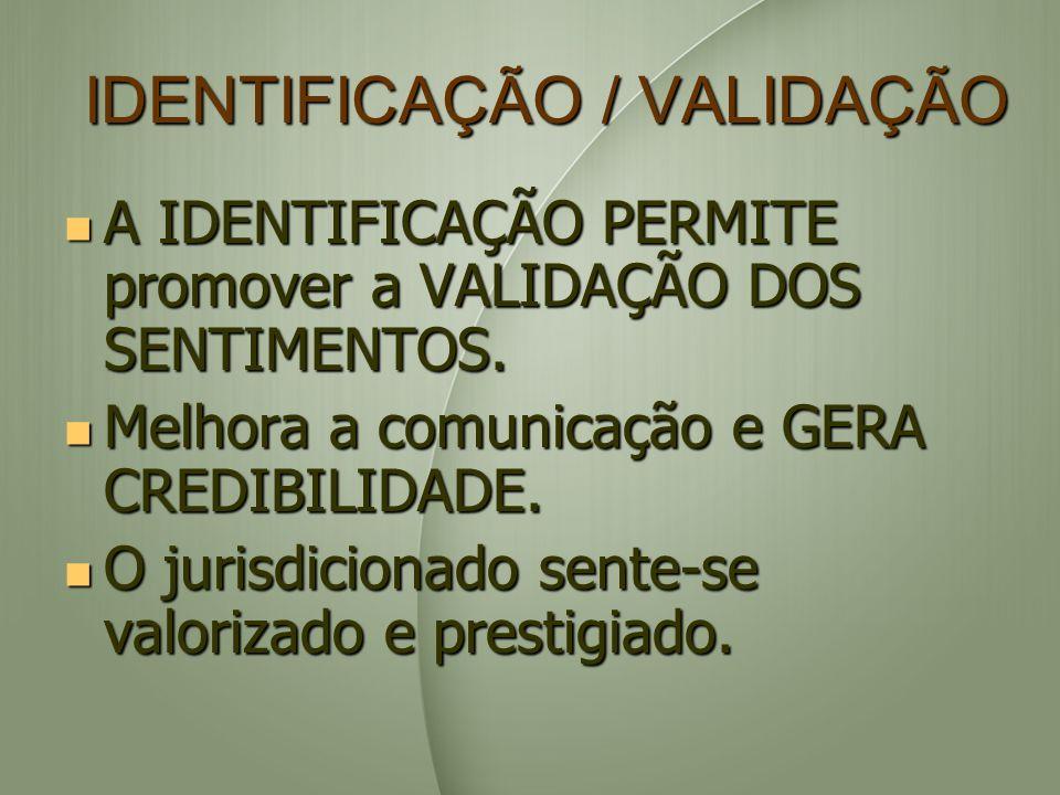 IDENTIFICAÇÃO / VALIDAÇÃO A IDENTIFICAÇÃO PERMITE promover a VALIDAÇÃO DOS SENTIMENTOS. A IDENTIFICAÇÃO PERMITE promover a VALIDAÇÃO DOS SENTIMENTOS.