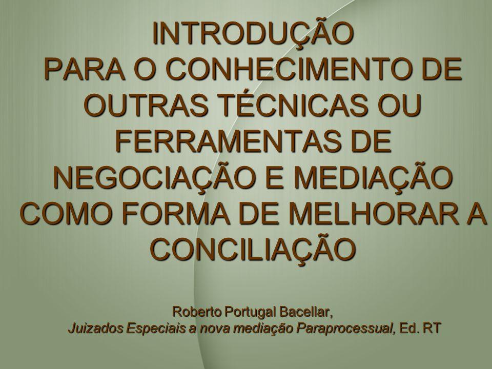 INTRODUÇÃO PARA O CONHECIMENTO DE OUTRAS TÉCNICAS OU FERRAMENTAS DE NEGOCIAÇÃO E MEDIAÇÃO COMO FORMA DE MELHORAR A CONCILIAÇÃO Roberto Portugal Bacell