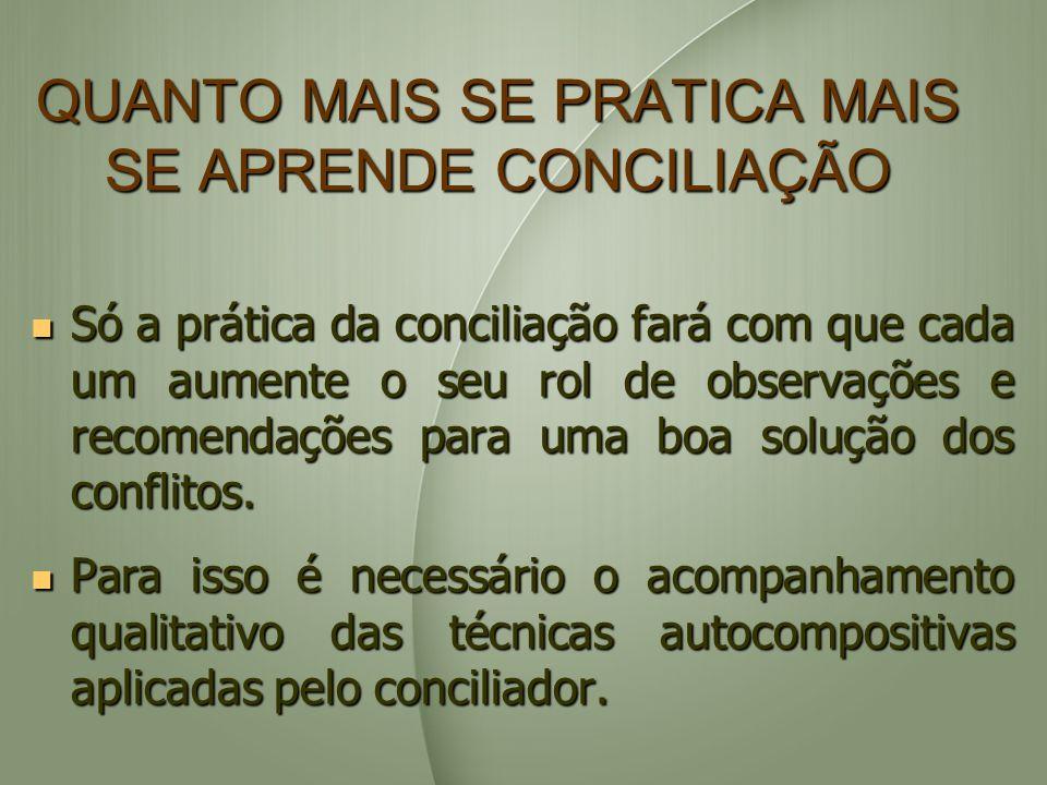 QUANTO MAIS SE PRATICA MAIS SE APRENDE CONCILIAÇÃO Só a prática da conciliação fará com que cada um aumente o seu rol de observações e recomendações p