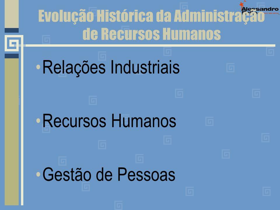 Evolução Histórica da Administração de Recursos Humanos Relações Industriais Recursos Humanos Gestão de Pessoas