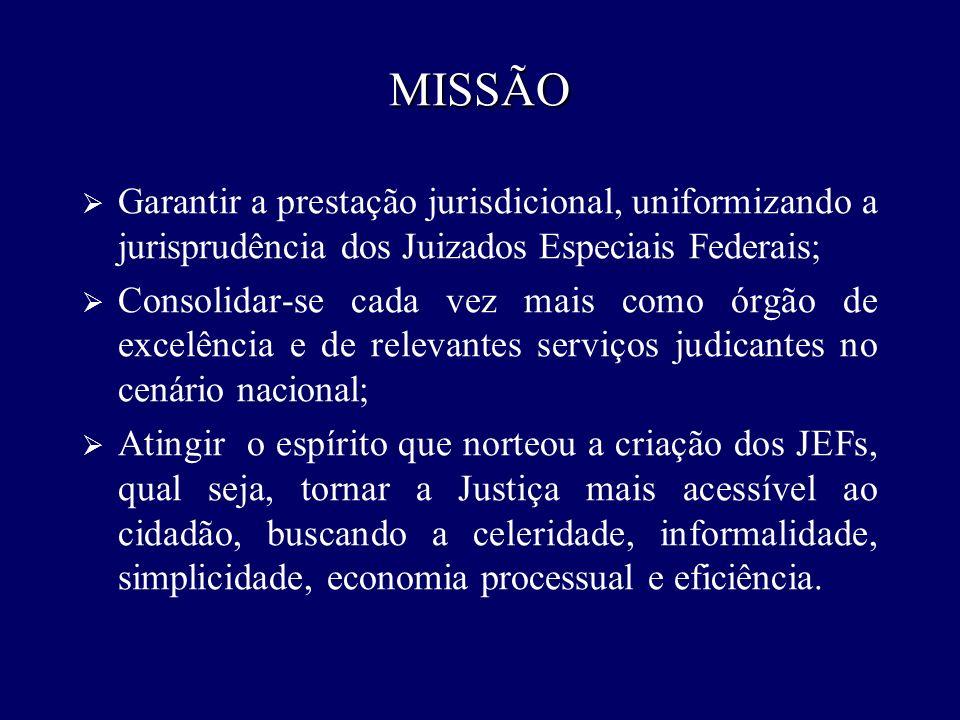 VISÃO Contribuir para que o Conselho da Justiça Federal seja reconhecido como órgão integrador da Justiça Federal, promovendo a excelência da prestação jurisdicional.