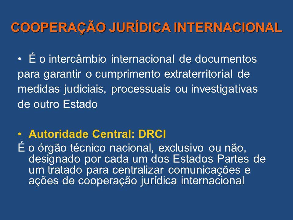 COOPERAÇÃO JURÍDICA INTERNACIONAL É o intercâmbio internacional de documentos para garantir o cumprimento extraterritorial de medidas judiciais, processuais ou investigativas de outro Estado Autoridade Central: DRCI É o órgão técnico nacional, exclusivo ou não, designado por cada um dos Estados Partes de um tratado para centralizar comunicações e ações de cooperação jurídica internacional