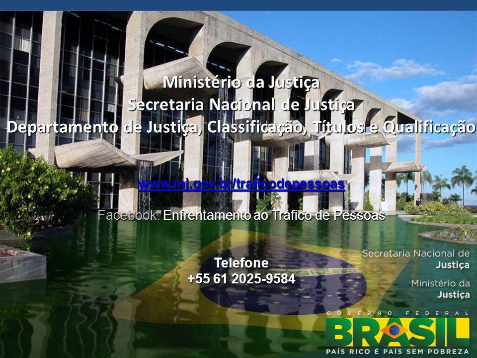Ministério da Justiça Secretaria Nacional de Justiça Departamento de Justiça, Classificação, Títulos e Qualificação www.mj.gov.br/traficodepessoas Facebook: Enfrentamento ao Tráfico de Pessoas Telefone +55 61 2025-9584