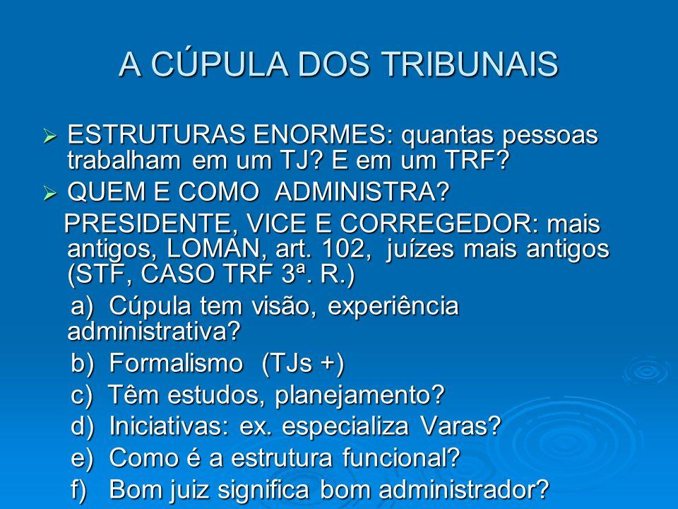 A CÚPULA DOS TRIBUNAIS ESTRUTURAS ENORMES: quantas pessoas trabalham em um TJ.