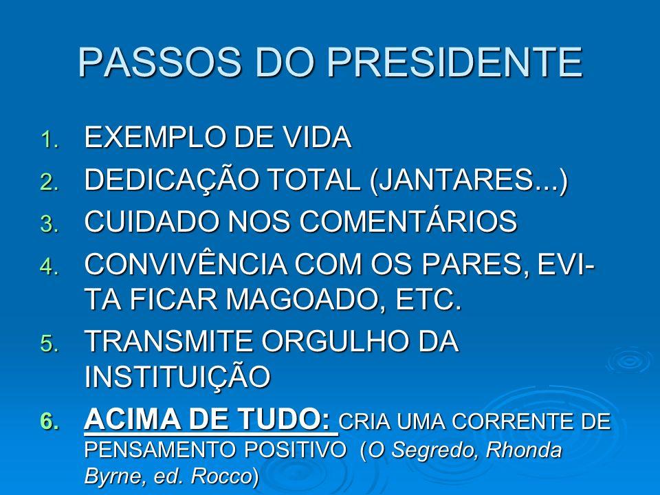 PASSOS DO PRESIDENTE 1. EXEMPLO DE VIDA 2. DEDICAÇÃO TOTAL (JANTARES...) 3.