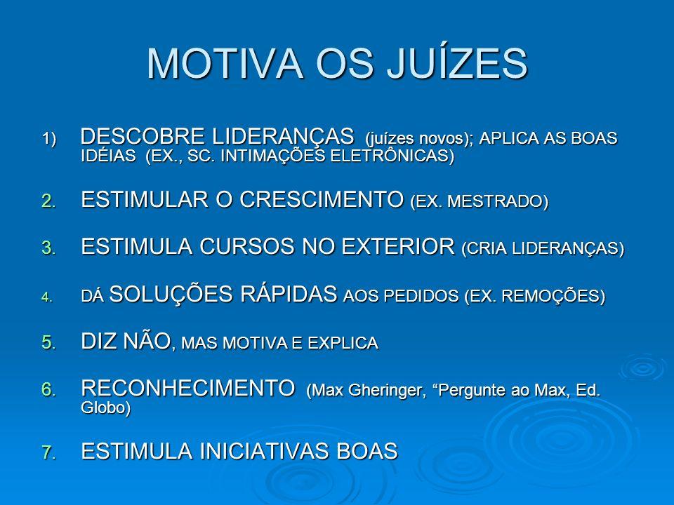 MOTIVA OS JUÍZES 1) DESCOBRE LIDERANÇAS (juízes novos); APLICA AS BOAS IDÉIAS (EX., SC.