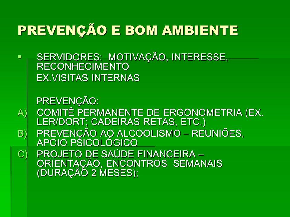 PREVENÇÃO E BOM AMBIENTE SERVIDORES: MOTIVAÇÃO, INTERESSE, RECONHECIMENTO SERVIDORES: MOTIVAÇÃO, INTERESSE, RECONHECIMENTO EX.VISITAS INTERNAS EX.VISITAS INTERNAS PREVENÇÃO: PREVENÇÃO: A)COMITÊ PERMANENTE DE ERGONOMETRIA (EX.