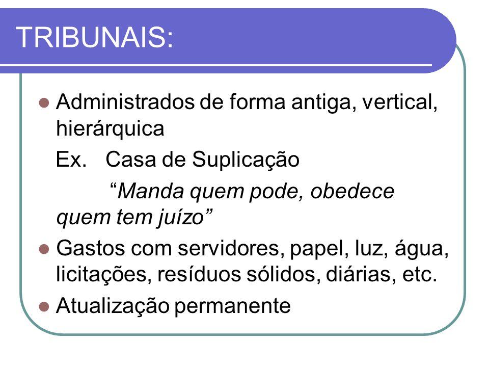 TRIBUNAIS: Administrados de forma antiga, vertical, hierárquica Ex.