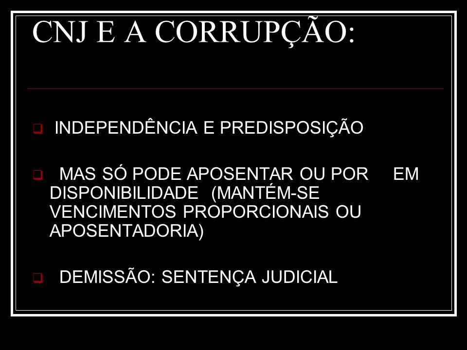 CNJ E A CORRUPÇÃO: INDEPENDÊNCIA E PREDISPOSIÇÃO MAS SÓ PODE APOSENTAR OU POR EM DISPONIBILIDADE (MANTÉM-SE VENCIMENTOS PROPORCIONAIS OU APOSENTADORIA) DEMISSÃO: SENTENÇA JUDICIAL