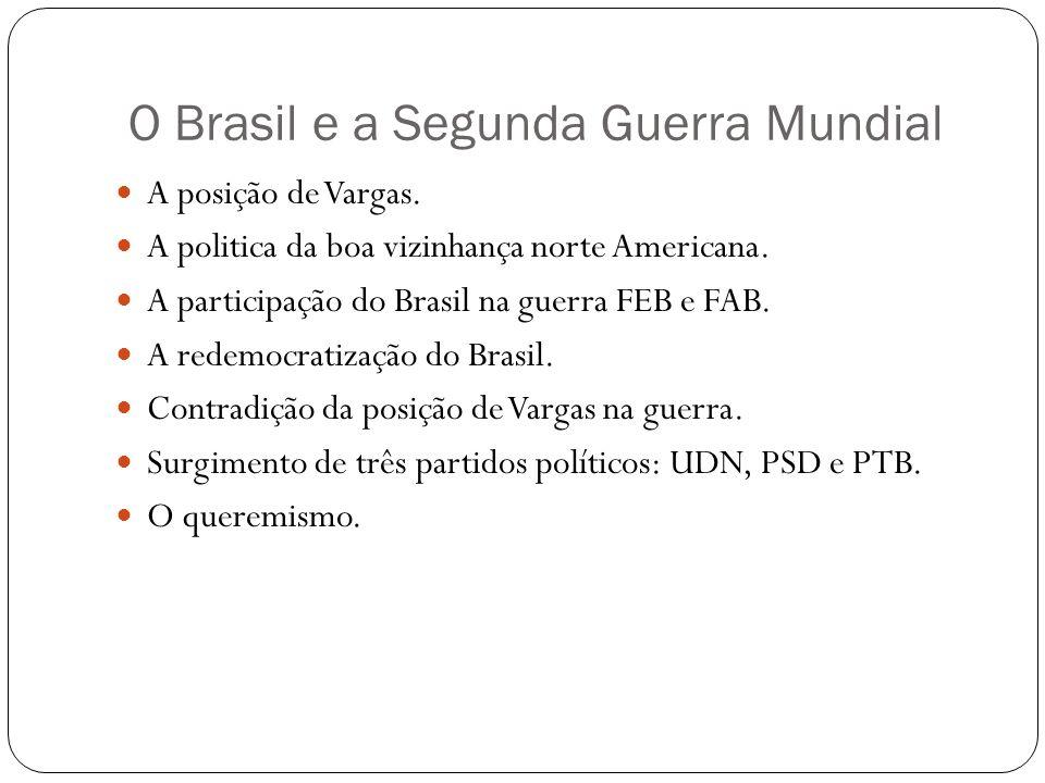 O Brasil e a Segunda Guerra Mundial A posição de Vargas. A politica da boa vizinhança norte Americana. A participação do Brasil na guerra FEB e FAB. A
