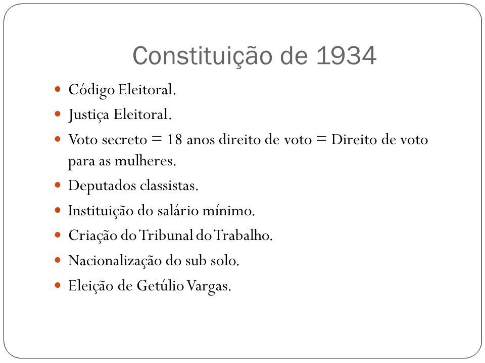 Constituição de 1934 Código Eleitoral. Justiça Eleitoral. Voto secreto = 18 anos direito de voto = Direito de voto para as mulheres. Deputados classis