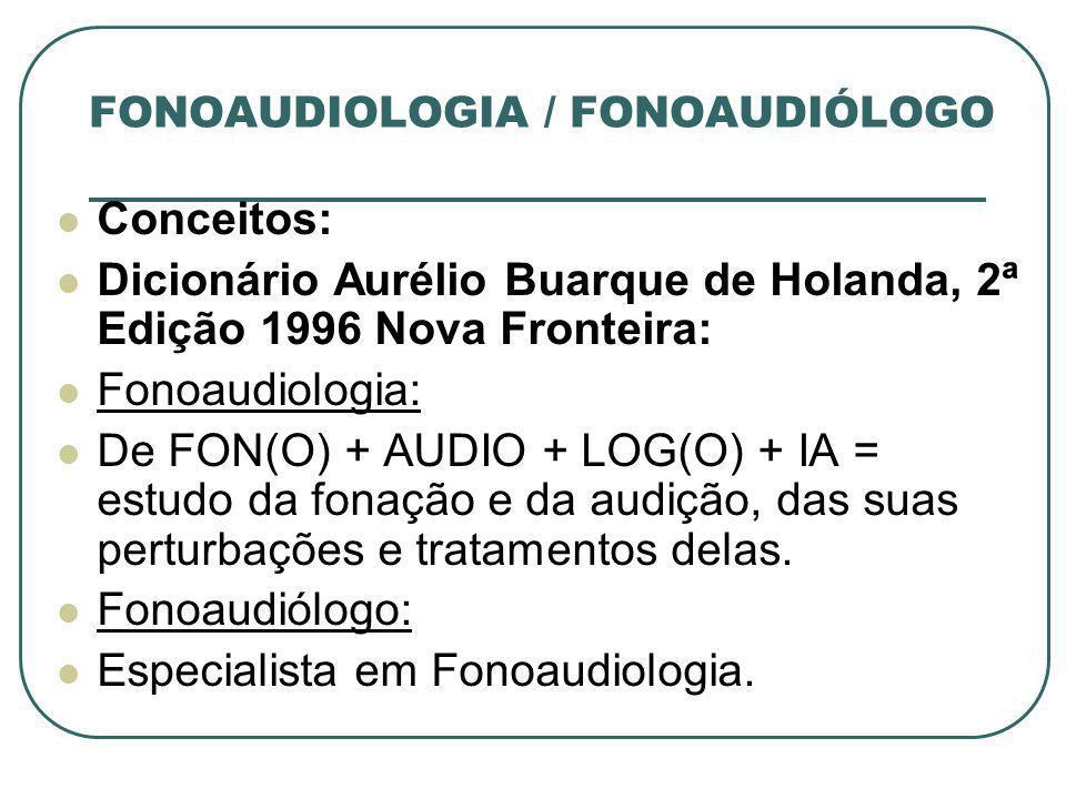 FONOAUDIOLOGIA / FONOAUDIÓLOGO Conceitos: Dicionário Aurélio Buarque de Holanda, 2ª Edição 1996 Nova Fronteira: Fonoaudiologia: De FON(O) + AUDIO + LO