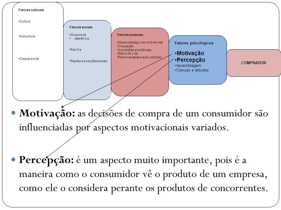 Motivação: as decisões de compra de um consumidor são influenciadas por aspectos motivacionais variados. Percepção: é um aspecto muito importante, poi