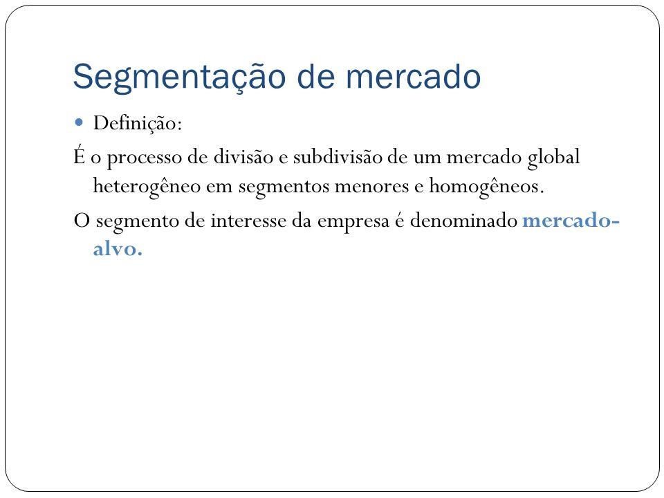 Segmentação de mercado Definição: É o processo de divisão e subdivisão de um mercado global heterogêneo em segmentos menores e homogêneos. O segmento