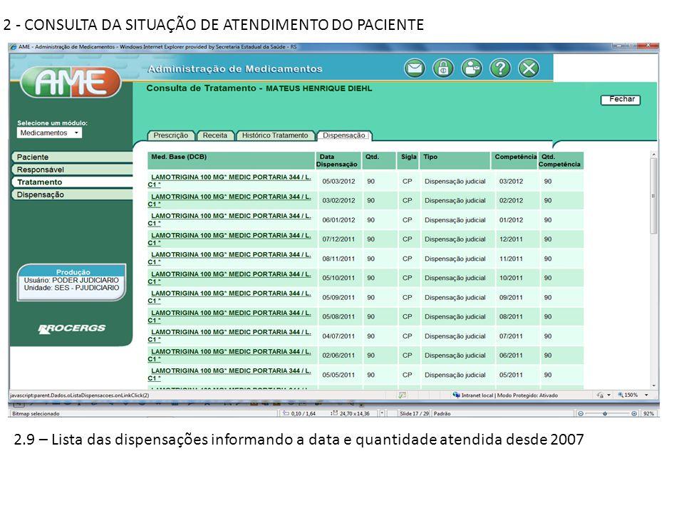 2 - CONSULTA DA SITUAÇÃO DE ATENDIMENTO DO PACIENTE 2.9 – Lista das dispensações informando a data e quantidade atendida desde 2007