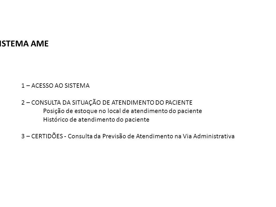 SISTEMA AME 1 – ACESSO AO SISTEMA 2 – CONSULTA DA SITUAÇÃO DE ATENDIMENTO DO PACIENTE Posição de estoque no local de atendimento do paciente Histórico