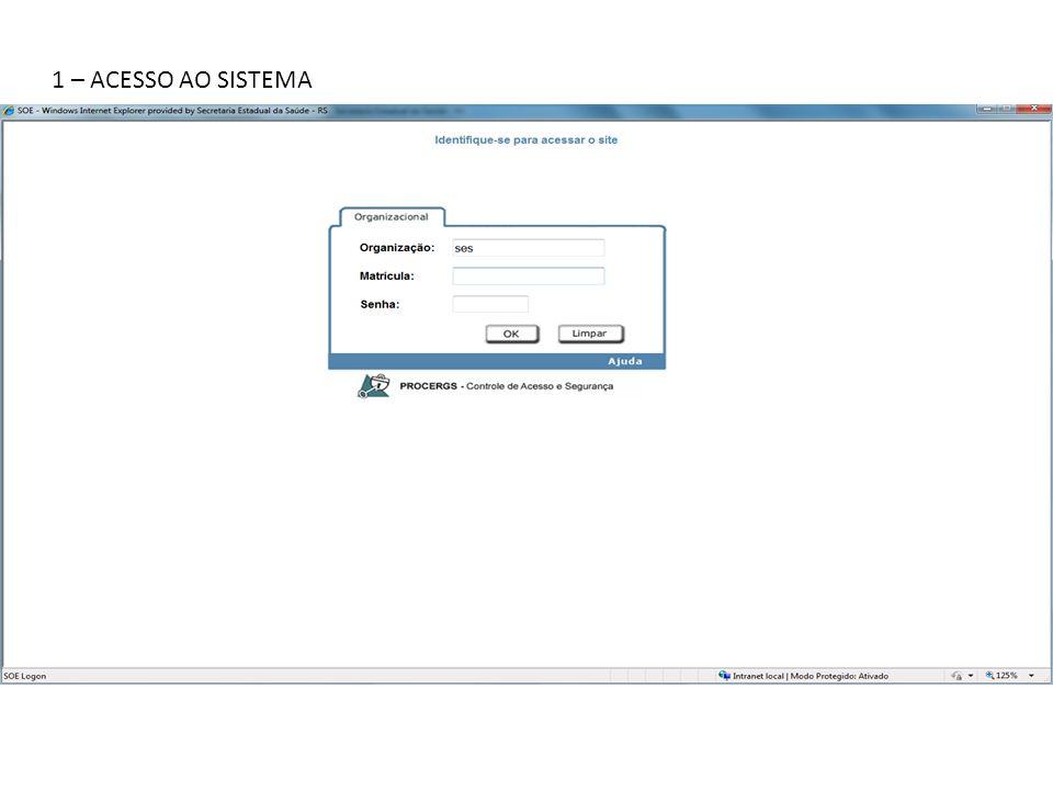 2.1 - na tela inicial do Sistema AME 2 - CONSULTA DA SITUAÇÃO DE ATENDIMENTO DO PACIENTE