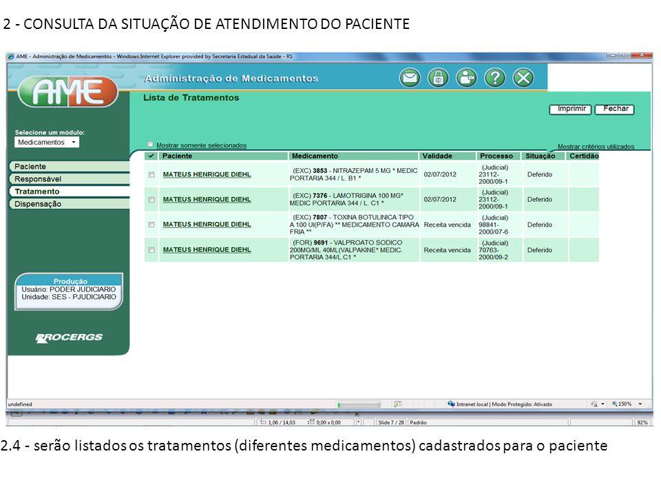 2 - CONSULTA DA SITUAÇÃO DE ATENDIMENTO DO PACIENTE 2.5 – clicando sobre o nome do paciente na primeira coluna vão aparecer os detalhes do tratamento referido em cada linha