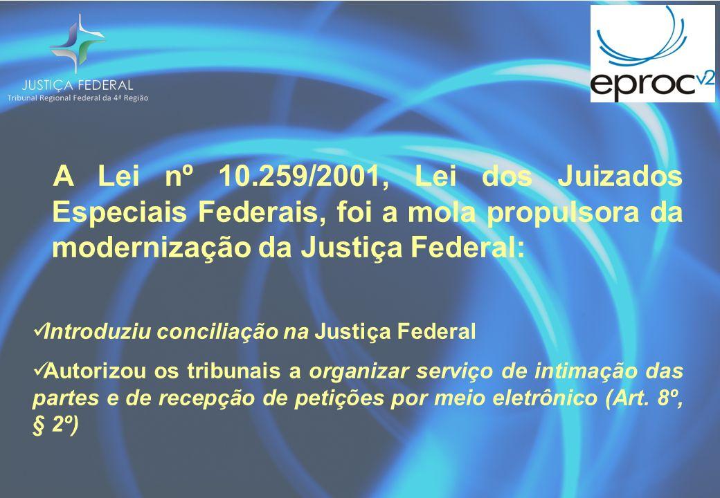 A Lei nº 10.259/2001, Lei dos Juizados Especiais Federais, foi a mola propulsora da modernização da Justiça Federal: Introduziu conciliação na Justiça