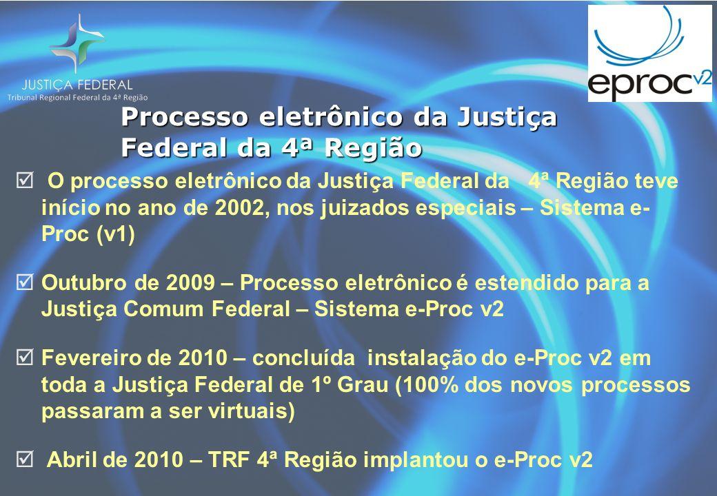 Processo eletrônico da Justiça Federal da 4ª Região O processo eletrônico da Justiça Federal da 4ª Região teve início no ano de 2002, nos juizados especiais – Sistema e- Proc (v1) Outubro de 2009 – Processo eletrônico é estendido para a Justiça Comum Federal – Sistema e-Proc v2 Fevereiro de 2010 – concluída instalação do e-Proc v2 em toda a Justiça Federal de 1º Grau (100% dos novos processos passaram a ser virtuais) Abril de 2010 – TRF 4ª Região implantou o e-Proc v2