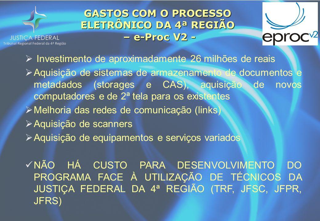GASTOS COM O PROCESSO ELETRÔNICO DA 4ª REGIÃO – e-Proc V2 - Investimento de aproximadamente 26 milhões de reais Aquisição de sistemas de armazenamento
