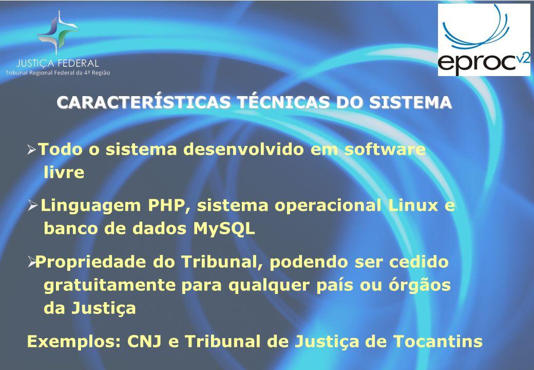 CARACTERÍSTICAS TÉCNICAS DO SISTEMA CARACTERÍSTICAS TÉCNICAS DO SISTEMA Todo o sistema desenvolvido em software livre Linguagem PHP, sistema operacion