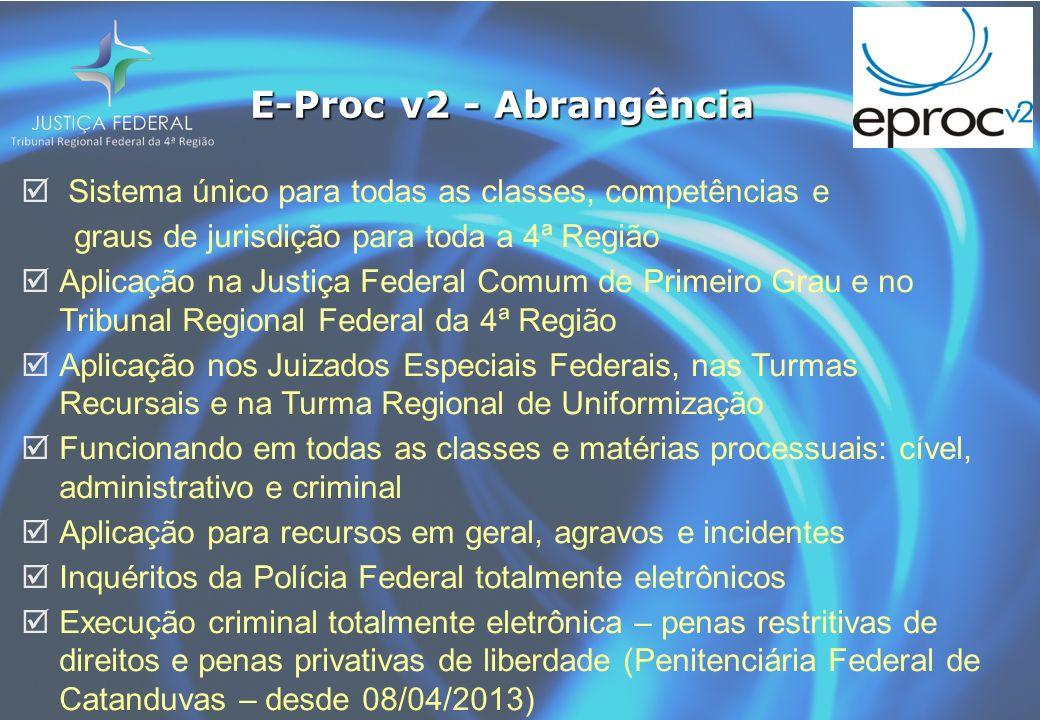 E-Proc v2 - Abrangência Sistema único para todas as classes, competências e graus de jurisdição para toda a 4ª Região Aplicação na Justiça Federal Com