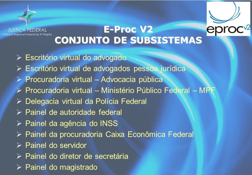 E-Proc V2 CONJUNTO DE SUBSISTEMAS Escritório virtual do advogado Escritório virtual de advogados pessoa jurídica Procuradoria virtual – Advocacia públ