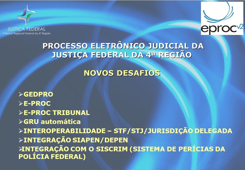 PROCESSO ELETRÔNICO JUDICIAL DA JUSTIÇA FEDERAL DA 4ª REGIÃO NOVOS DESAFIOS PROCESSO ELETRÔNICO JUDICIAL DA JUSTIÇA FEDERAL DA 4ª REGIÃO NOVOS DESAFIOS GEDPRO E-PROC E-PROC TRIBUNAL GRU automática INTEROPERABILIDADE – STF/STJ/JURISDIÇÃO DELEGADA INTEGRAÇÃO SIAPEN/DEPEN INTEGRAÇÃO COM O SISCRIM (SISTEMA DE PERÍCIAS DA POLÍCIA FEDERAL)