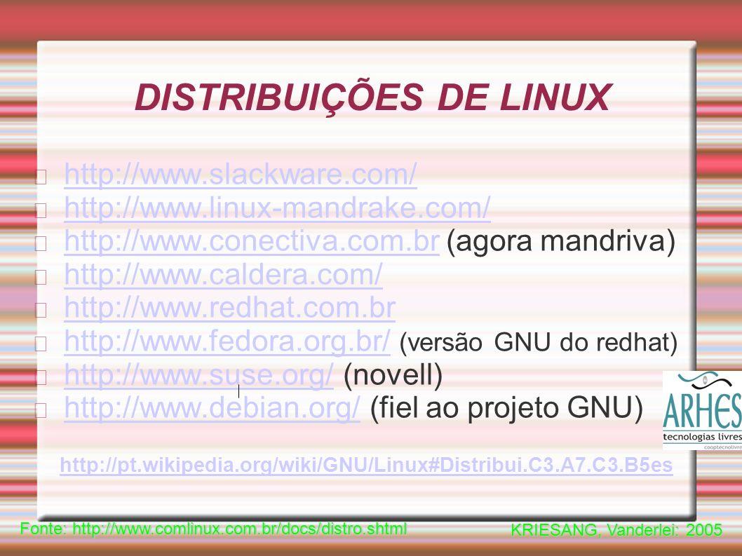 DISTRIBUIÇÕES DE LINUX http://www.slackware.com/ http://www.linux-mandrake.com/ http://www.conectiva.com.brhttp://www.conectiva.com.br (agora mandriva) http://www.caldera.com/ http://www.redhat.com.br http://www.fedora.org.br/http://www.fedora.org.br/ (versão GNU do redhat) http://www.suse.org/http://www.suse.org/ (novell) http://www.debian.org/http://www.debian.org/ (fiel ao projeto GNU) Fonte: http://www.comlinux.com.br/docs/distro.shtml KRIESANG, Vanderlei: 2005 http://pt.wikipedia.org/wiki/GNU/Linux#Distribui.C3.A7.C3.B5es