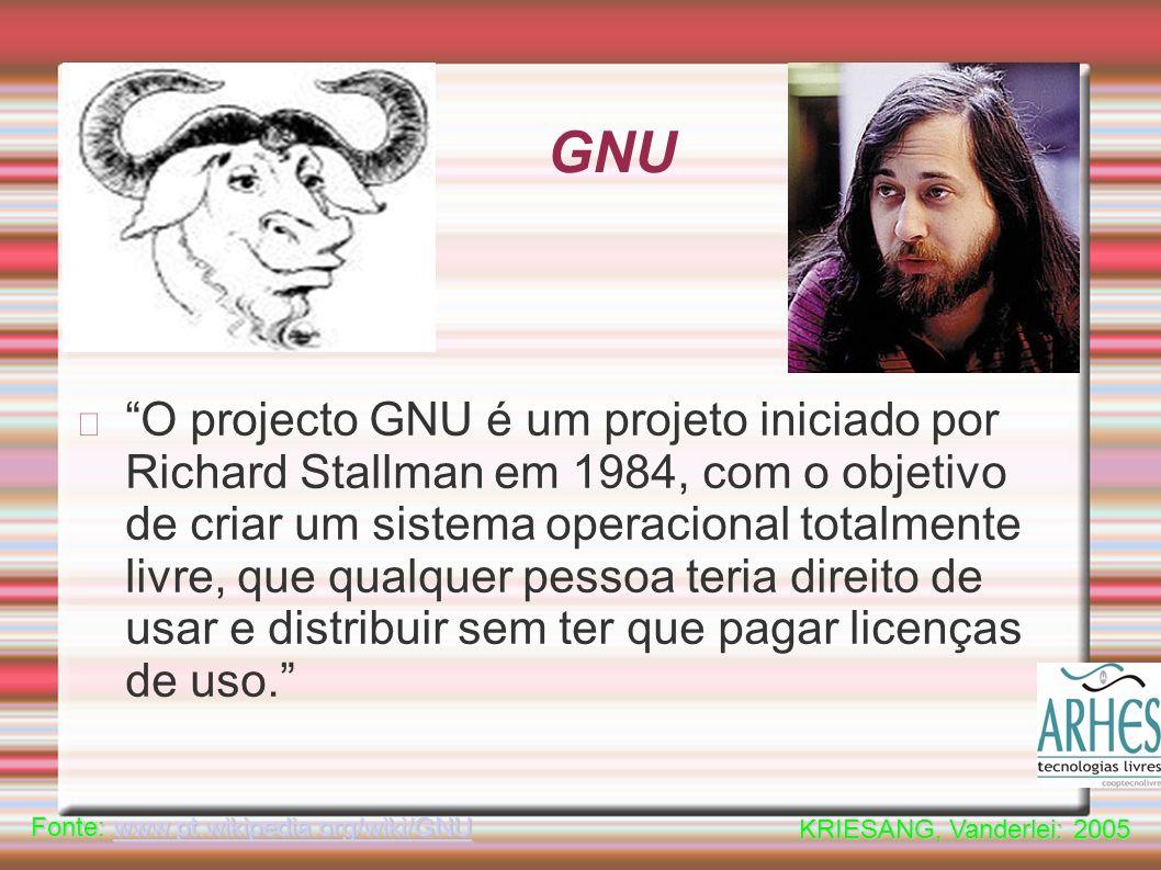 GNU O projecto GNU é um projeto iniciado por Richard Stallman em 1984, com o objetivo de criar um sistema operacional totalmente livre, que qualquer pessoa teria direito de usar e distribuir sem ter que pagar licenças de uso.