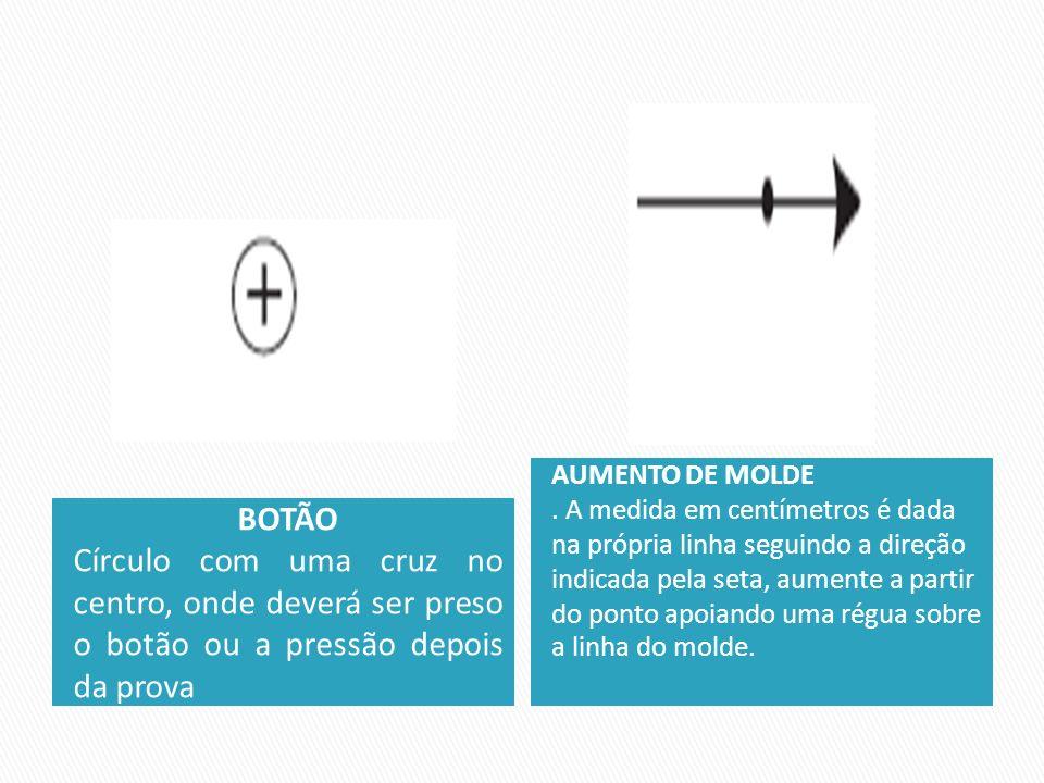 BOTÃO Círculo com uma cruz no centro, onde deverá ser preso o botão ou a pressão depois da prova AUMENTO DE MOLDE. A medida em centímetros é dada na p