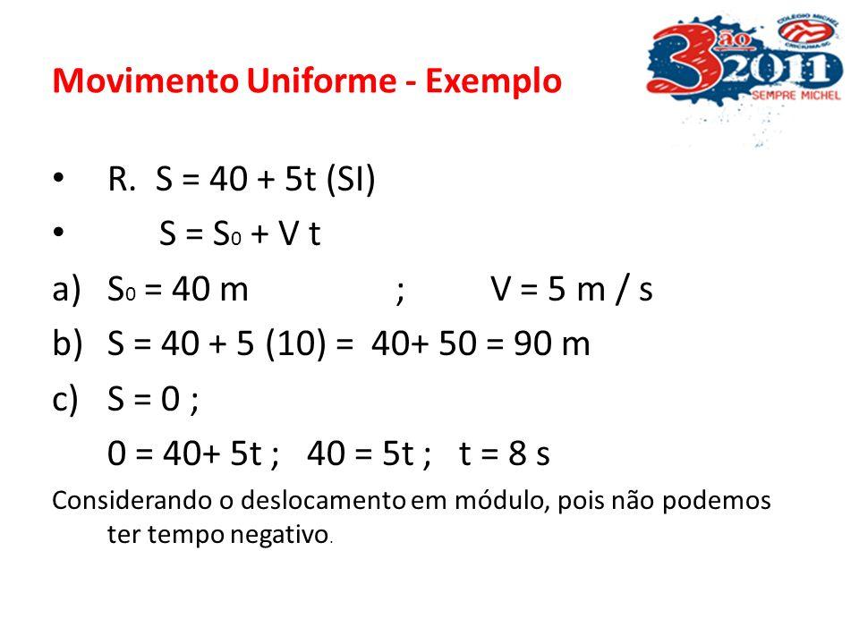 Movimento Uniforme - Exemplo Um móvel descreve um MRU, de acordo com a função horária S = 40 + 5t (SI). Determine: a)O espaço inicial e sua velocidade