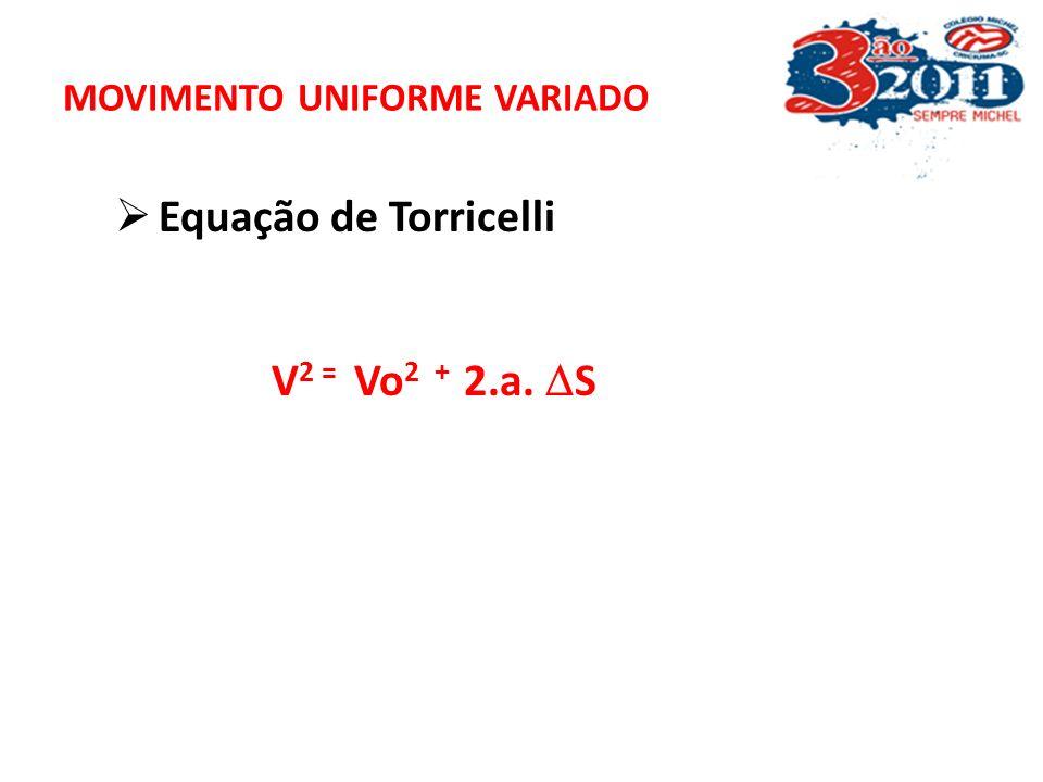 MOVIMENTO UNIFORME VARIADO Função horária da velocidade no MUV V = V 0 + a t V = V 0 + a t Função horária do espaço no MUV S = S 0 + V 0 t + ½ at 2