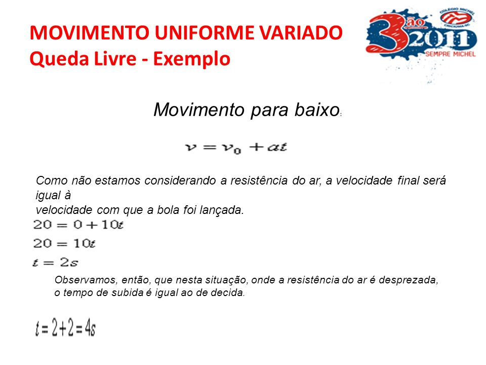 MOVIMENTO UNIFORME VARIADO Queda Livre - Exemplo Neste exemplo, o movimento é uma combinação de um lançamento vertical para cima + um lançamento verti