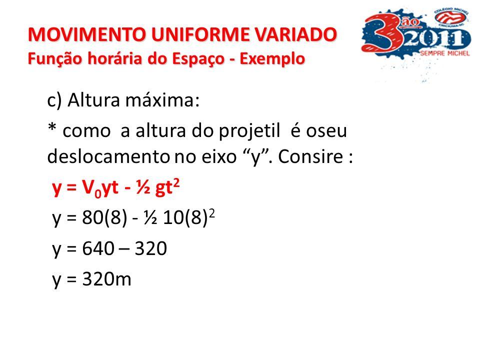 MOVIMENTO UNIFORME VARIADO Função horária do Espaço - Exemplo V = V 0 - g t 0 = 80 – 10t -80/-10 = t t = 8s t = 8s