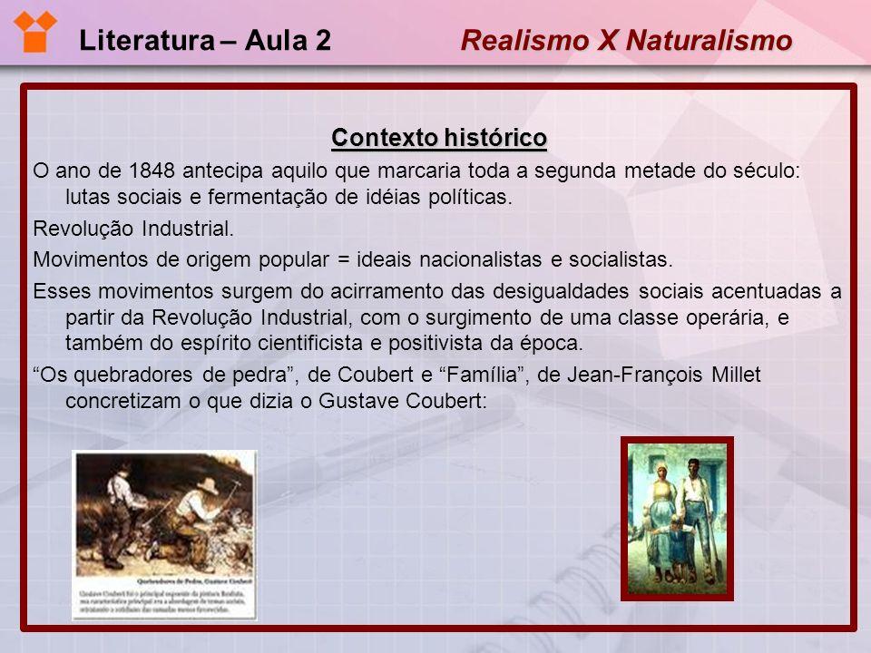 Realismo X Naturalismo Literatura – Aula 2 Realismo X Naturalismo Contexto histórico A pintura é uma arte essencialmente objetiva e consiste na representação das coisas reais e existentes.
