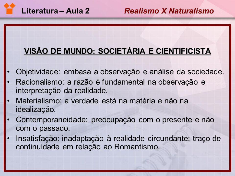 Realismo X Naturalismo Literatura – Aula 2 Realismo X Naturalismo NATURALISMO: CONCEITOS Condicionamento social e hereditário do comportamento.
