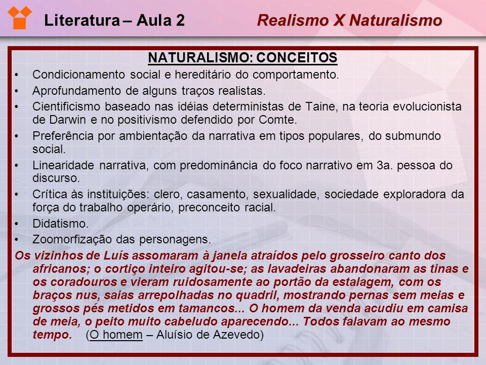 Realismo X Naturalismo Literatura – Aula 2 Realismo X Naturalismo NATURALISMO: CONCEITOS Especialmente, a mulher é apresentada como presa fácil dos instintos e das necessidades fisiológicas.